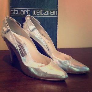 "Stuart Weizman 4"" silver shoes rhinestone bow heel"